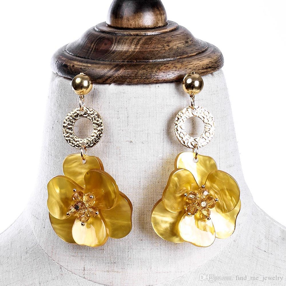 Flor de resina amarillo Pendiente de gota Regalo de fiesta de moda femenina Lindo Vintage Bohemio de cerámica étnica Bohemia Verde Pendiente de cristal Pendientes para mujeres