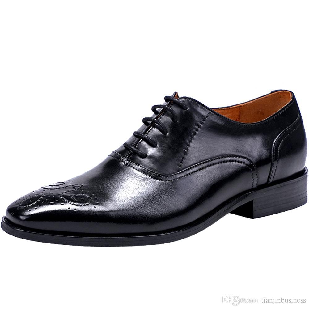 16cc35d8e0ce60 Compre Zapatos De Vestir Para Hombre Zapatos De Boda De Cuero Genuino De  Alta Calidad Para Hombre Zapatos De Negocios Formales Hombre Oxfords Para  Trabajo ...