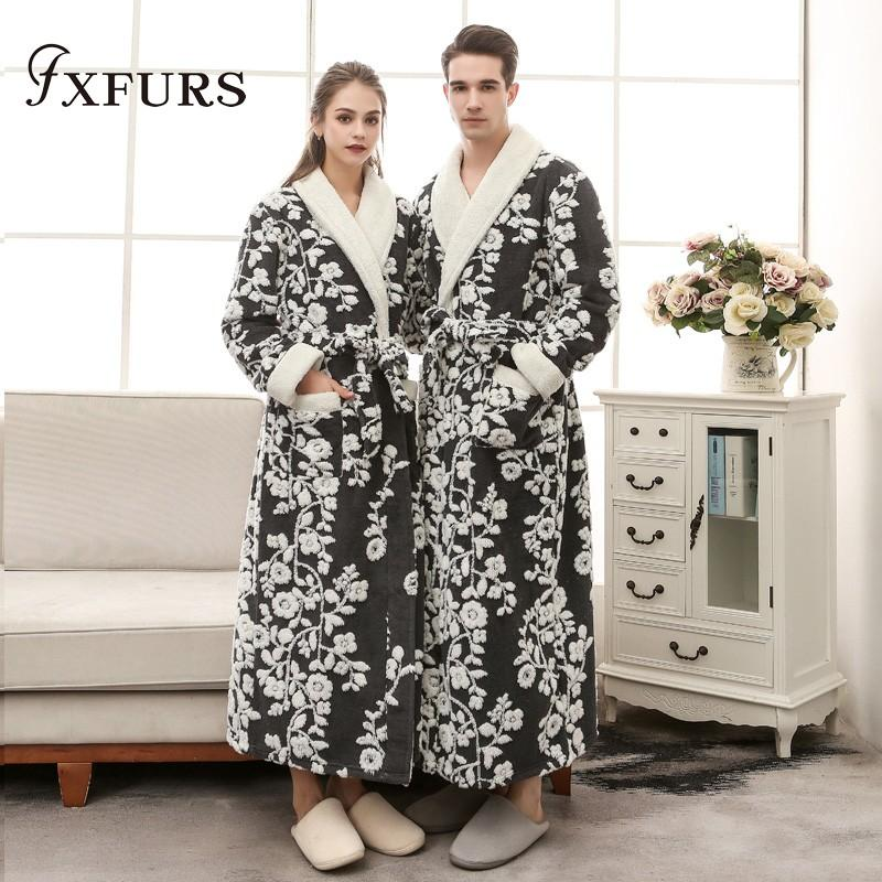 2019 Couple Bathrobe Bath Robe For Women Men Winter Flannel Bathrobes Home Wear  Nightgown Sleepwear Kimono Dressing Gowns Flowers From Beautyjewly 824525ef3