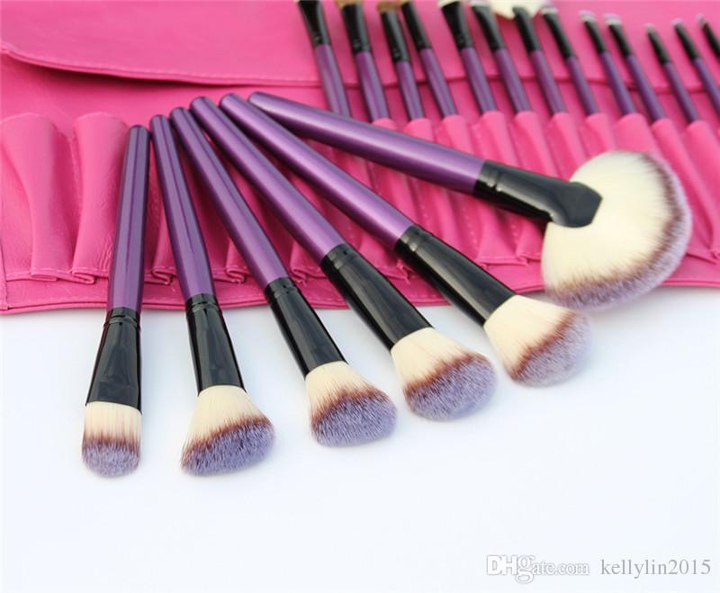 24 шт. Наборы кистей для макияжа Профессиональный черный, синий, фиолетовый Comestic Make Up Brushes Kit Пудра Тени для век Кисть с кожаной сумкой