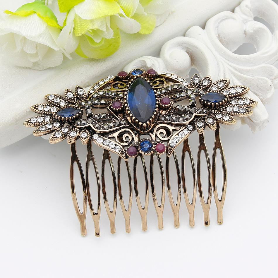 Vintage Indian Resin Flower Hairwear Hair Comb Hair Clips Hairpins Hijab Headdress Comb Turkish Bride Jewelry Antique Gold Color
