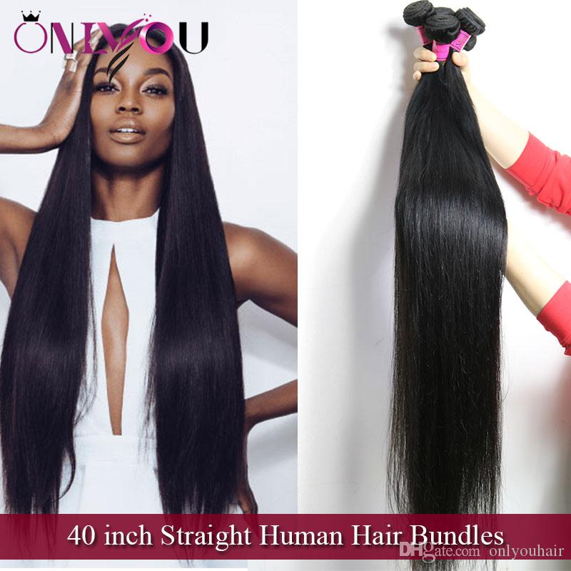 Onlyou Hair Products 40 Inch Straight Human Hair Bundles Mink
