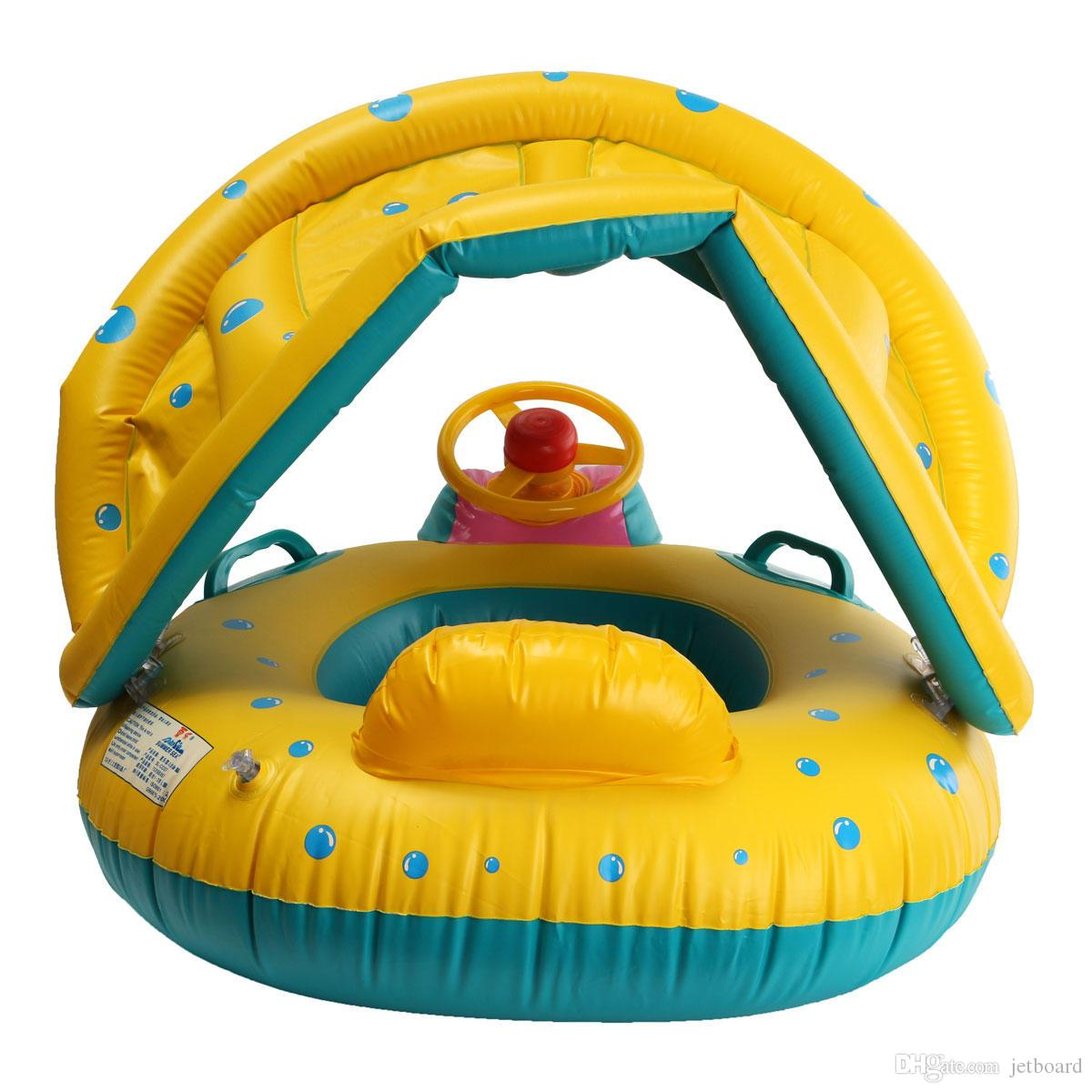 Adjustable Sunshade Baby Swim Inflatable Float Seat Boat Swimming Ring Water Toys Sunshade PVC Inflatable Baby Seat