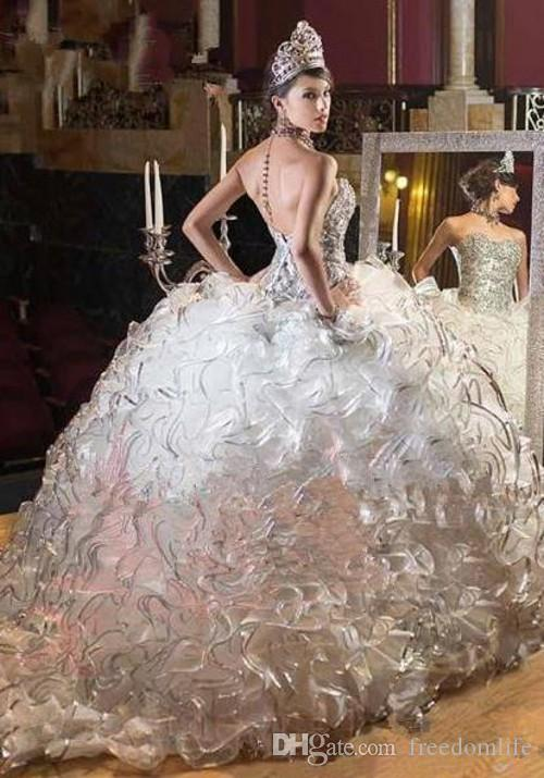 Luxury Princess Quinceanera Dresses Ball Gown Organza Beaded Ruffles Sexy  Backless Lace Sweet 16 Prom Dress Pageant Gowns Classy Online Quinceanera  Dresses ... 958e17c59c40
