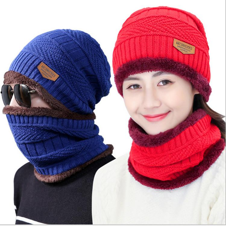 4064b2d28ad 2019 Winter Beanie Scarf 2 In Parent Child Family Warm Fleece Cap Soft  Skull Cap Mask Earflaps Hats Unisex Knitted Hat Outdoor Snapback Hot From  ...