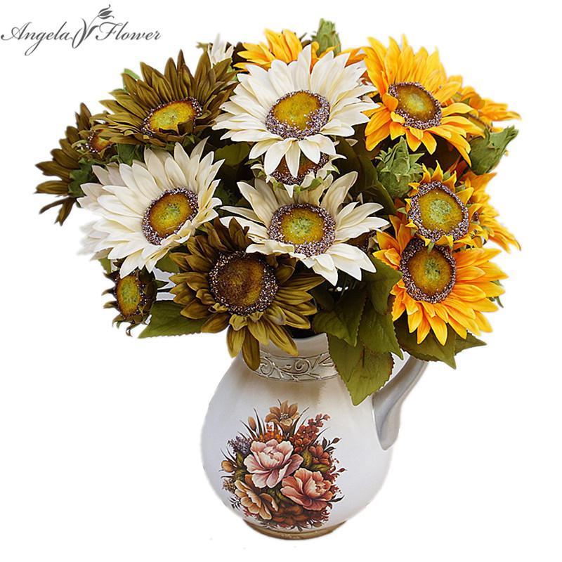 Satın Al Sonbahar Boyama Dekorasyon Ayçiçeği Yapay Düğün çiçek