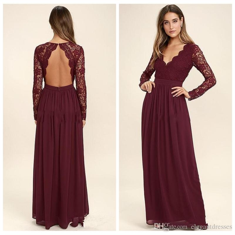 2018 Dark Red Open Back Chiffon Bridesmaid Dresses Long Sleeves Country  Style V Neck Backless Long Beach Lace Top Wedding Party Gowns Canada 2019  From ... 45d038028169