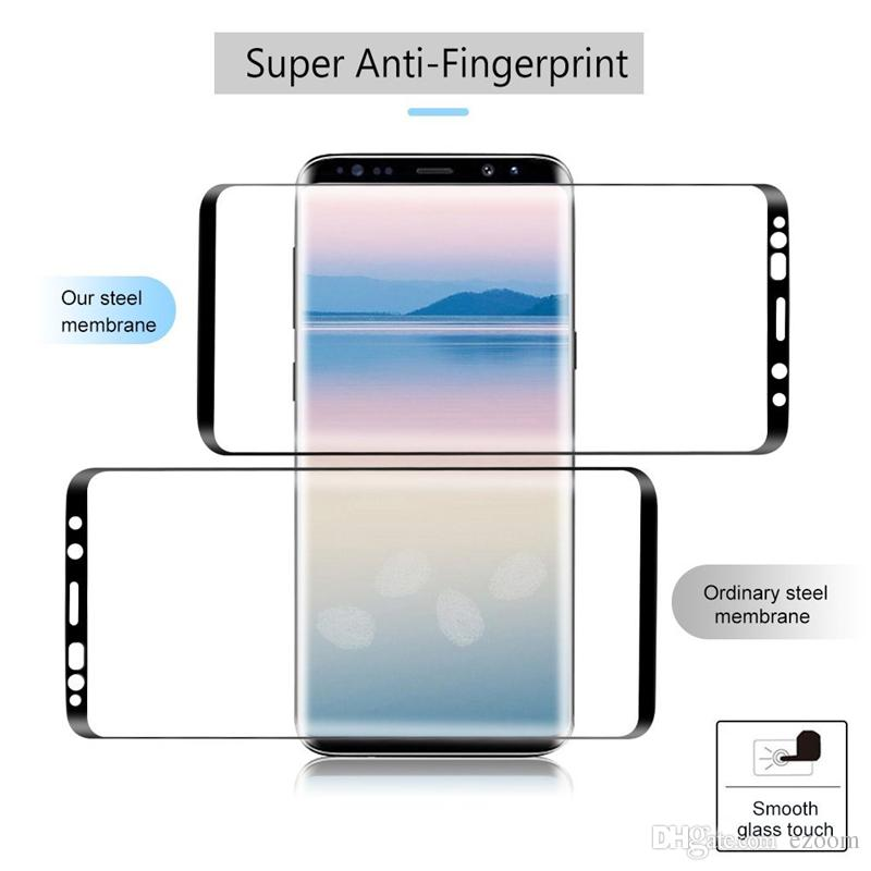 For Samsung NOTE 8 Galaxy S9 S8 plus Full Screen Protector Tempered Glass S7 Edge Cover Whole Screen 3D Curve Screen Protector with box