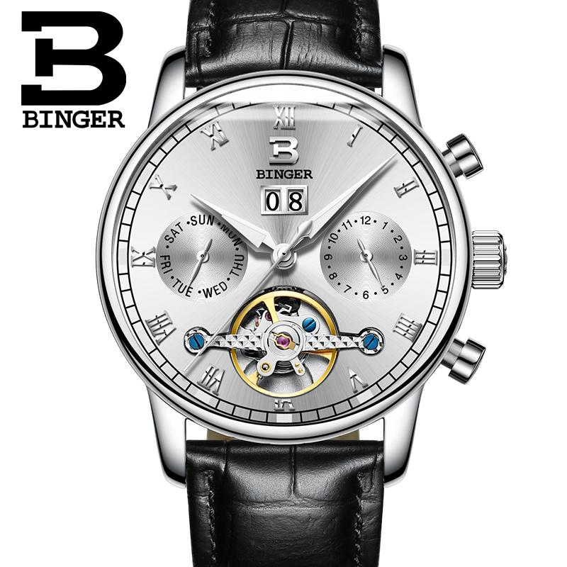 Acheter Suisse BINGER Hommes Montre De Luxe Marque Tourbillon Fulll En  Acier Inoxydable Résistant À L eau Mécanique Montres Bracelets B 8604 2 De   267.82 Du ... 2bb0c56f776c