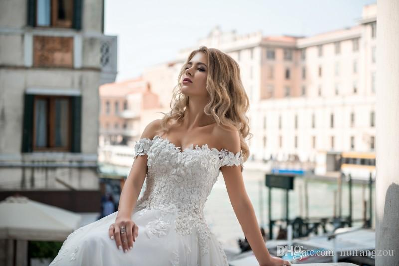 Vestido Pentelei princesa vestidos de novia del hombro Vestidos de boda del Applique del cordón del tren del barrido de la boda modesta vestidos nupciales