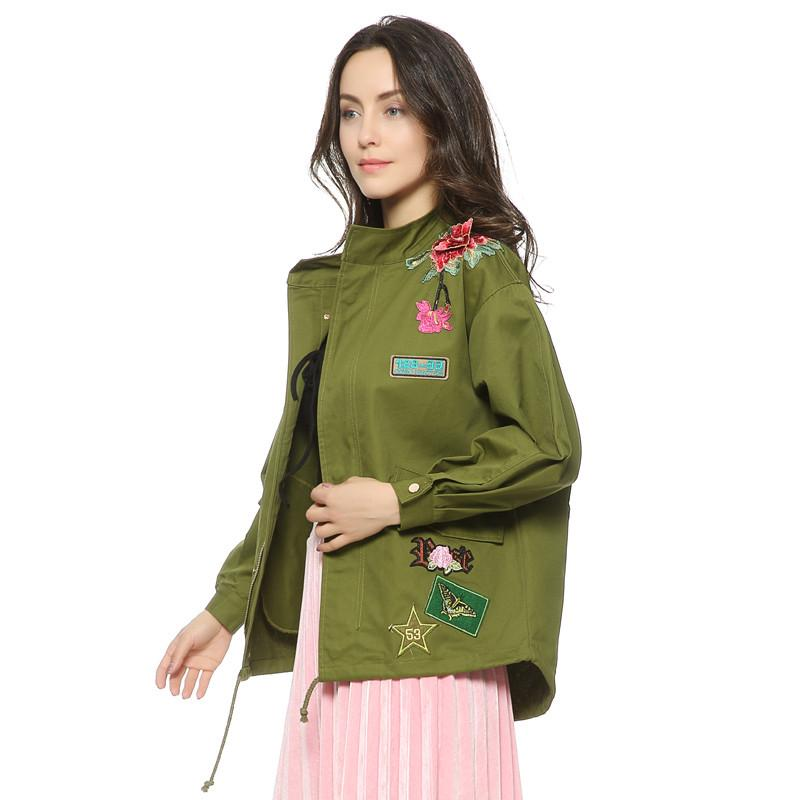 35b76328a Women Army Green Floral Embroidery Bomber Female Jacket Patched Rivet  Design Loose Flight Jackets Casual Coat Punk Outerwear Capa