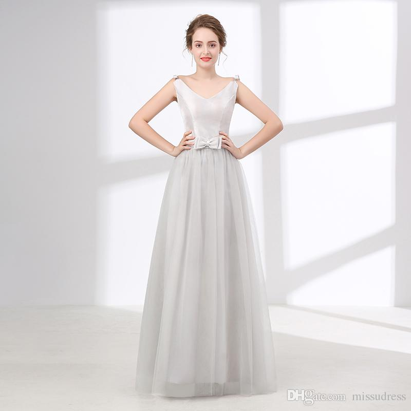 ec994e5d94 Silver long bridesmaid dresses 2018 new arrival v neck cheap bridesmaid  dress tulle floor length junior bridesmaid dress