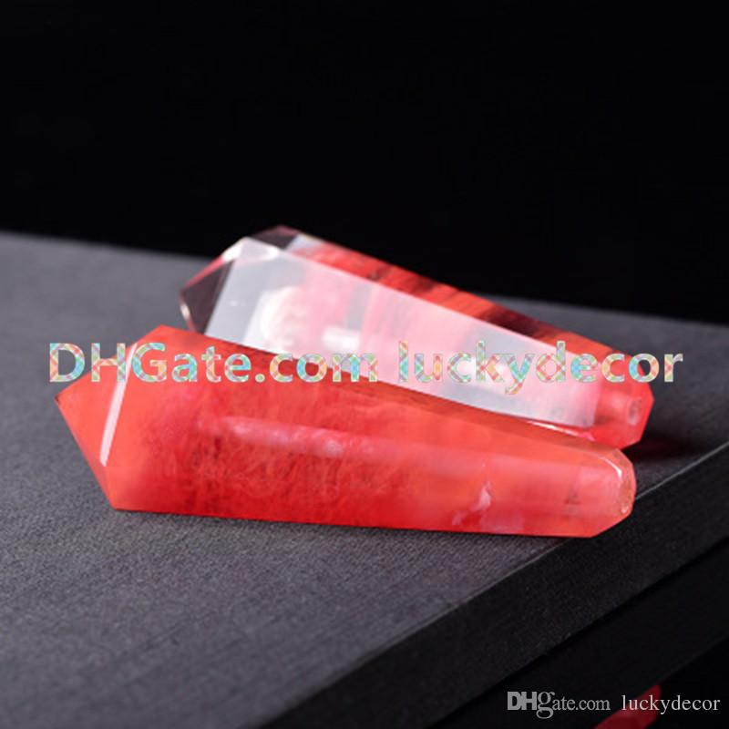 Red Smelt Quartz Pipe Cute Pretty Red Smelting Healing Crystal Gem Stone Point Wand Unique Metallic Coffin Smoking Tobacco Pipe Girly Pipes