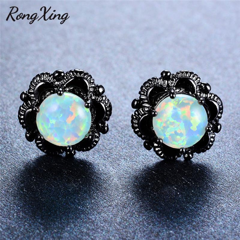 RongXing Blue/White Fire Opal Flower Stud Earrings For Women Wedding Jewelry Vintage Black Gold Filled Female Earrings Ear0627