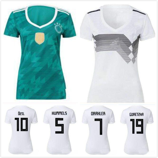 Compre 2018 Copa Del Mundo Mujer Alemania Casa Blanca Fútbol Jersey   13  Muller Alemania Camiseta De Fútbol   10 Ozil   8 Kroos   17 Boaten Uniformes  De ... b4bc54d24adfa