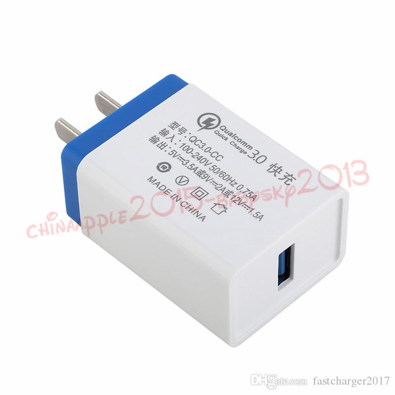 Rápido Quick Charge QC 3.0 Rápido Adaptive Eu US 5V 3.5A parede adaptador de carregador para Samsung Galaxy S8 s10 Android HTC telefone pc mp3