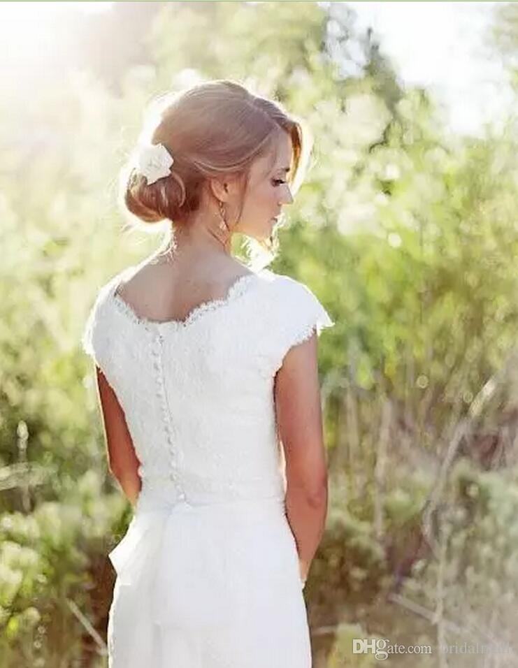Abiti da sposa a sirena in pizzo paese modesto 2020 Sexy scollo a V manica manica Boho Beach Abiti da sposa Abiti da sposa Pulsante indietro Vestido de Noiva
