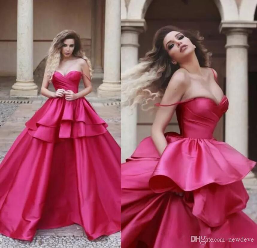 2019 Fuchsia Prom Dresses Layers Skirt Silk Satin Formal Long