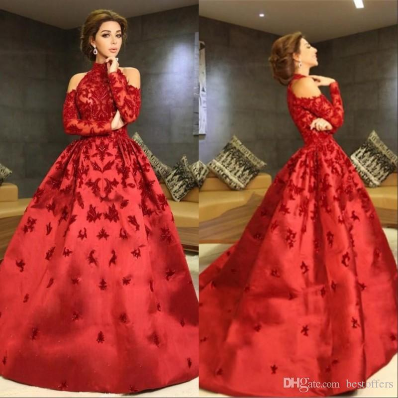 ab9fd03dd77ab Luxury Red Myriam Fares Evening Dresses 2018 High Neck Halter Long Sleeves  Appliques Beaded Satin Ball Gown Celebrity Formal Prom Dresses Maxi Evening  ...