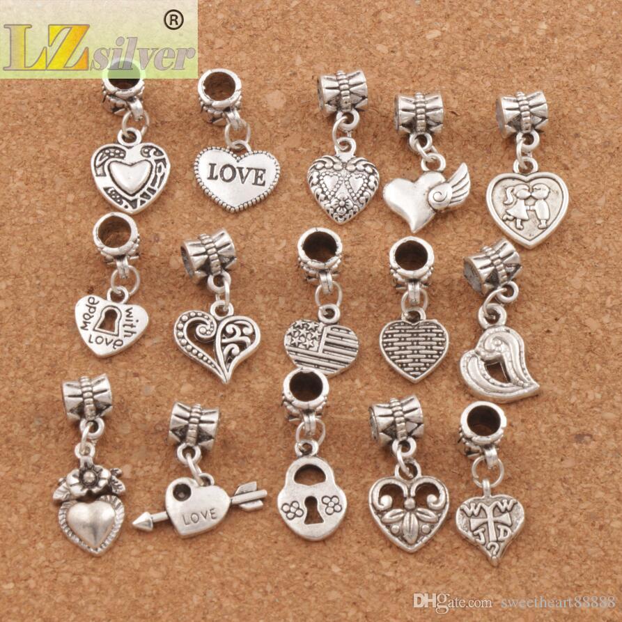 150 teile / los Antiqued Silber Verschiedene Herz Baumelt Perlen Fit Europäischen Charme Armband Schmuck DIY Metall BM6