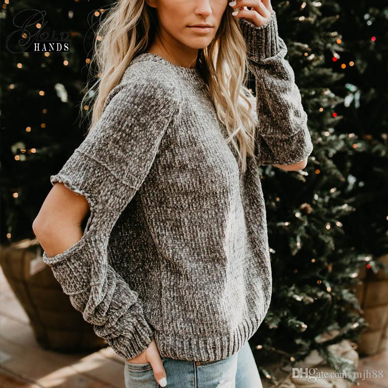 Women Casual Chenille Sweater Women Loose Sweater Hole Knitted Pullovers Female Gray Boyfriend Style Ladies Knitwear Pull Femme