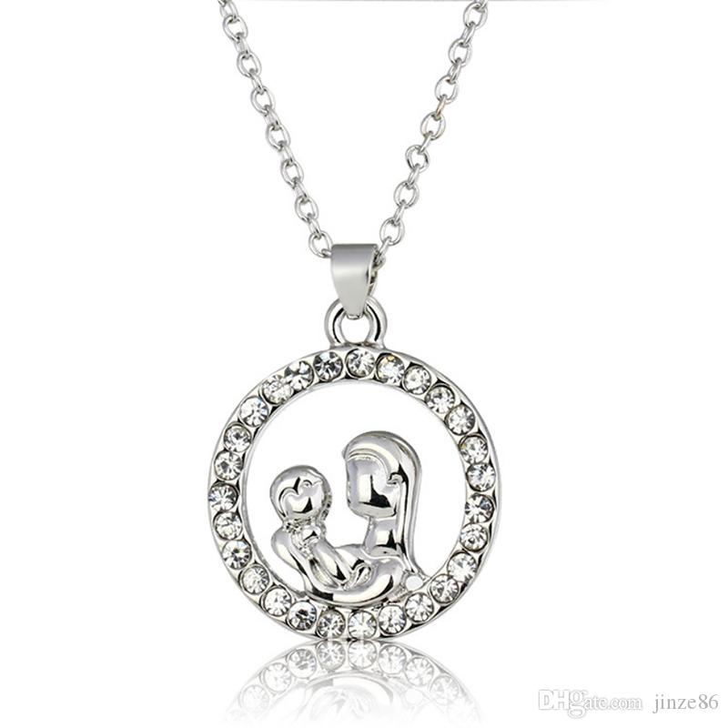 Trendy Mom and Baby Fully-Crystal Circle Pendants Necklaces Mother's Day Gift for Mother Sweater Chain Necklaces Mother's Day Best Gifts
