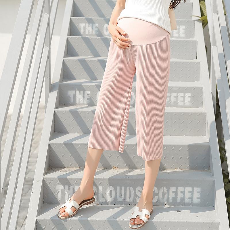 14f7a56dc4 Compre 1920   Pierna Ancha Plisada Gasa Pantalones De Maternidad Moda De  Verano Sueltos Capires Ropa Para Mujeres Embarazadas Embarazo Vientre Corto  ...