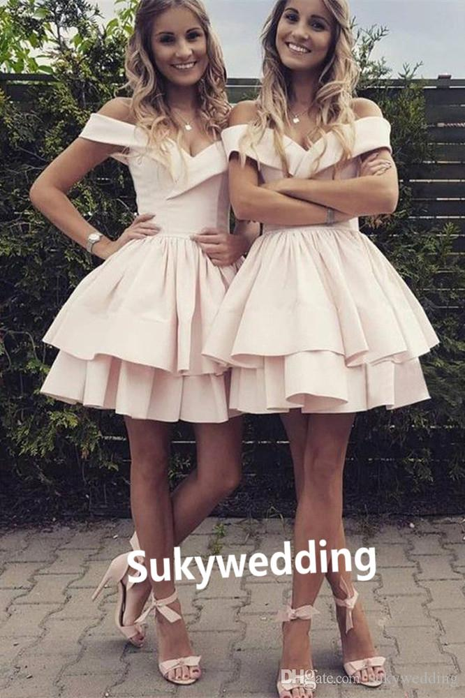 f3018166f0 Lovely Homecoming Dresses Off The Shoulder 2019 Short Party Dresses With  Layers Satin Skirt Cocktail Dresses Graduation Party Club Wear Dress Online  Shop ...