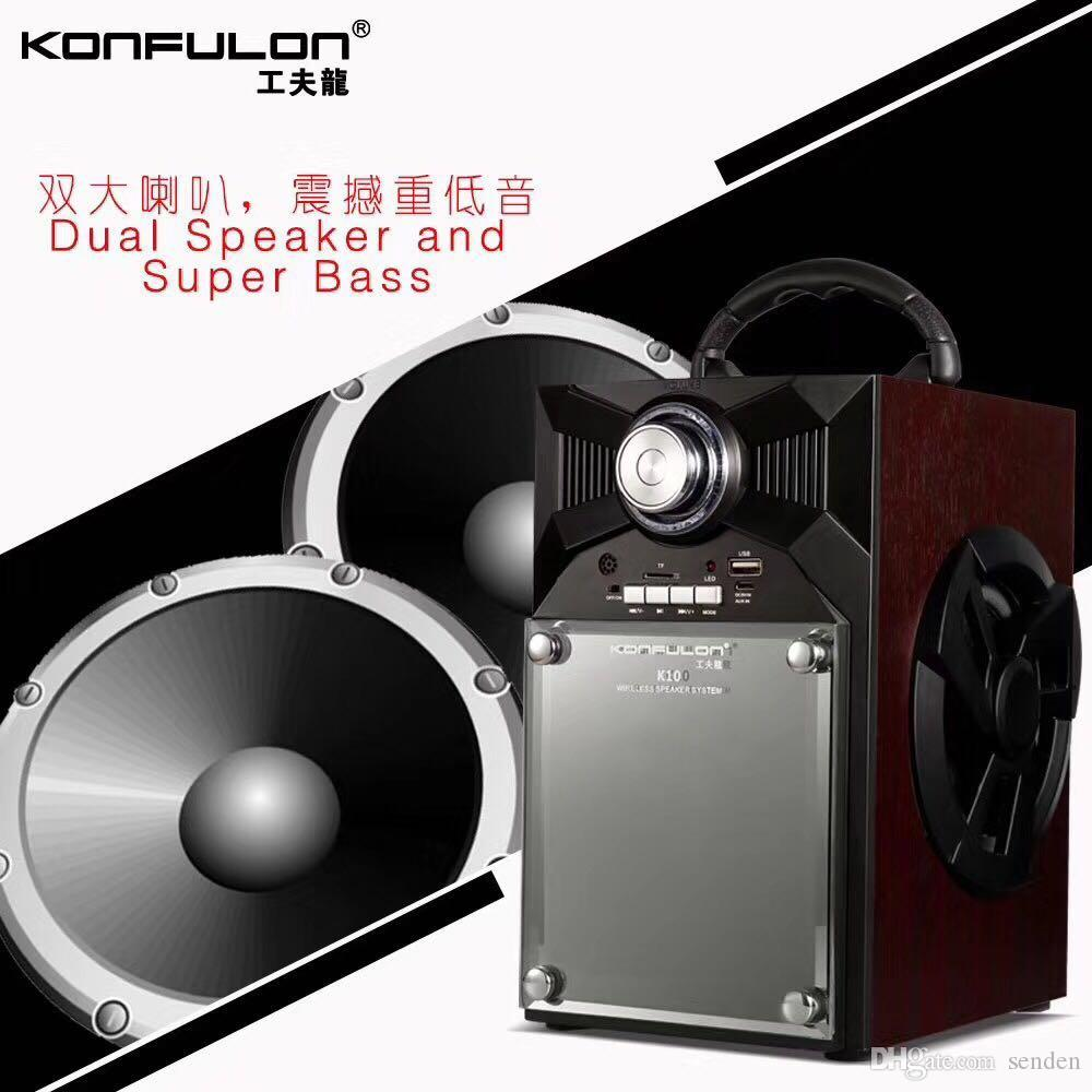 Konfulon K10 wireless bluetooth speaker automatic searching and storage of FM radio station with colourful LED dazzling lamps blink with mus