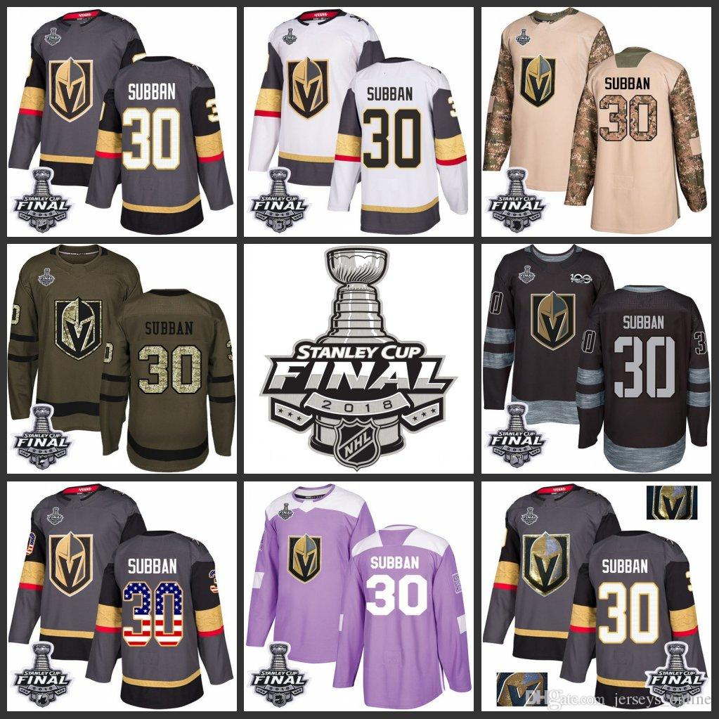 c8e6a7fa4 2019 2018 Stanley Cup Final 30 Malcolm Subban Vegas Golden Knights Green  Gray USA Flag Fashion Purple Fights Cancer Practice Gold Hockey Jerseys  From ...