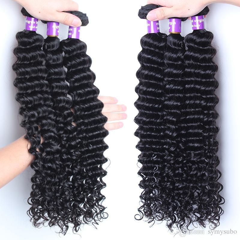 Бразильские Виргинские Волосы Глубокая Волна Связывает Weave Человеческих Волос Цвета 100% Выдвижения Волос Естественный Unprocessed