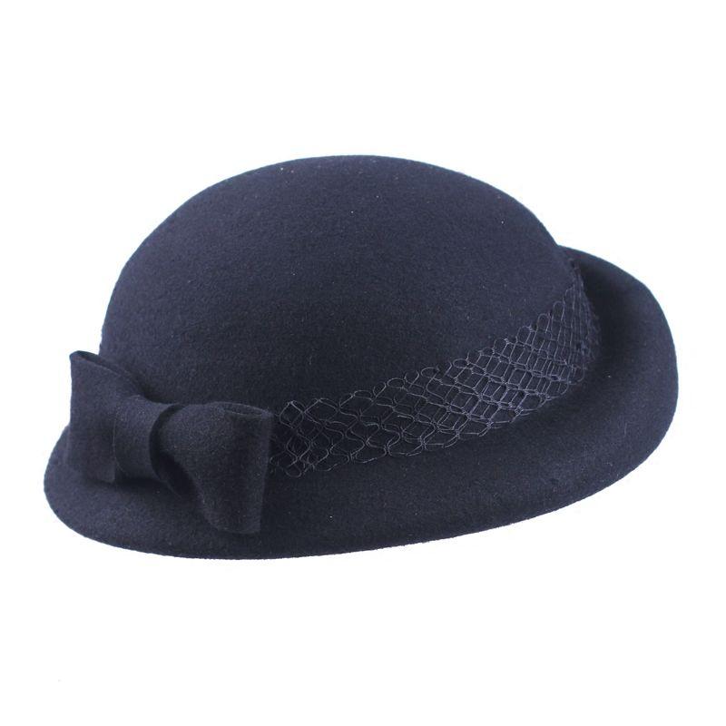 ceee972ab75 2019 Double Layers Black Wool Beret Hat 100% Wool Pillbox Bow Fedora Cap  British Elegant Ladies Autumn Winter Beret Hat 2018 From Lotusflowern