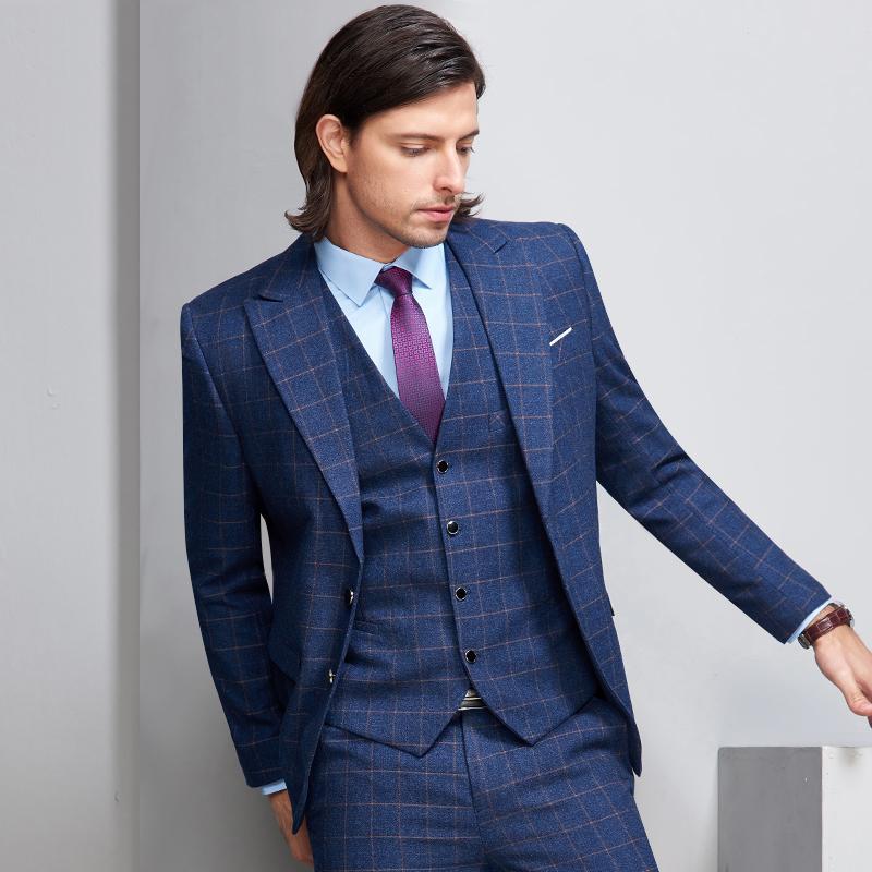 Compre Último Diseño Formal Azul A Cuadros Trajes De Los Hombres Para El  Novio De La Boda Trajes De Negocios Fiesta Slim Fit Blazer Vestido Vestido  Hombres ... 139637c2026b