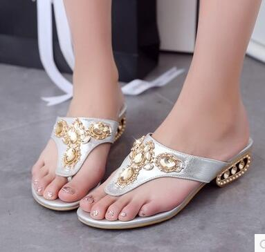 Women new fashion spring summer flip-flop slippers rhinestone sandals flat heels shoes large plus size 40-43