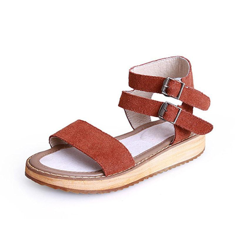 d7d442a76bc 2018 Female Summer Buckle Strap Genuine Leather Cow Suede Fashion Casual  Gladiator Platform Flat With Heel Sandals Shoes Women Platform Shoes Prom  Shoes ...