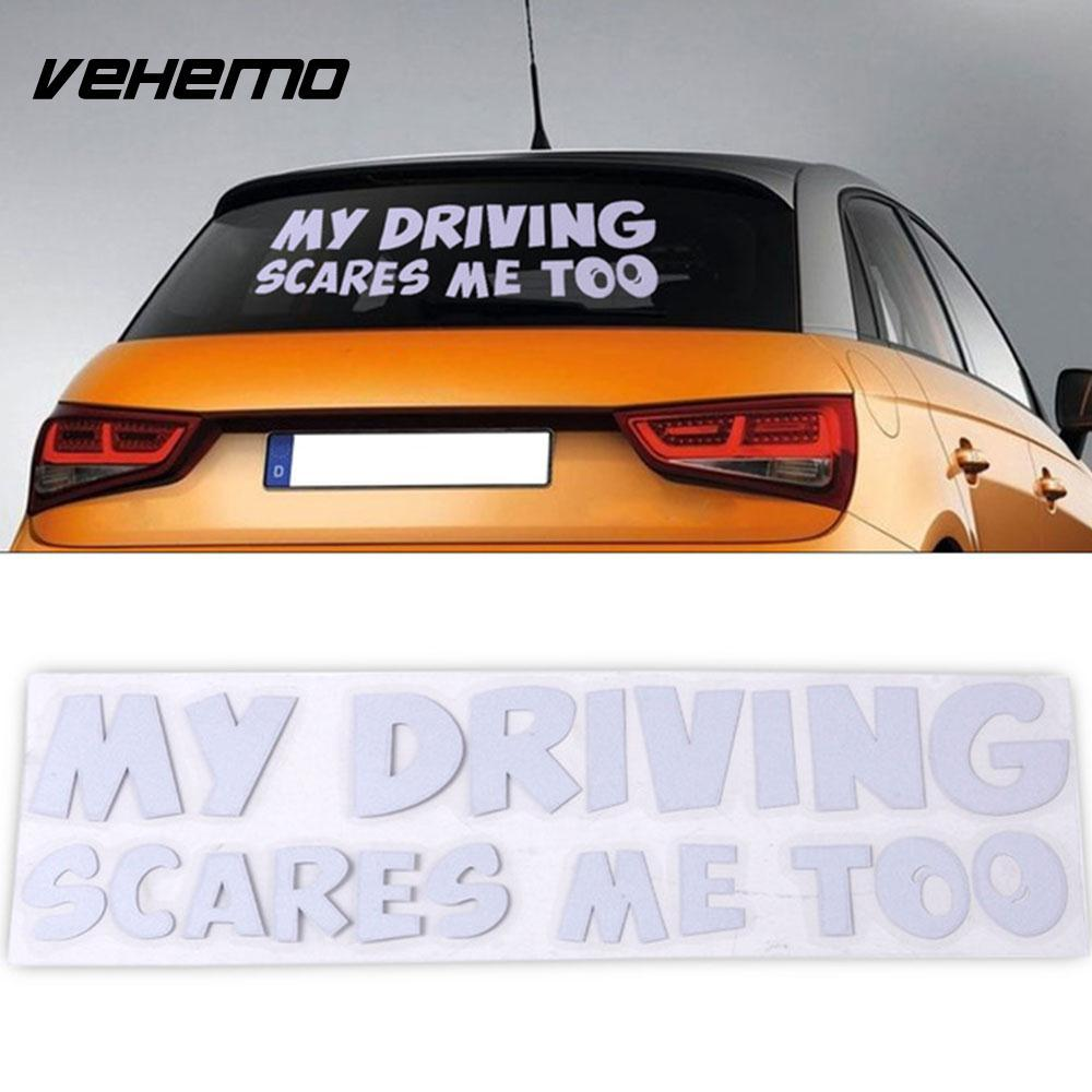 My driving scares me too sticker car decal sticker personality word car emblem tail auto 206cm pet funny