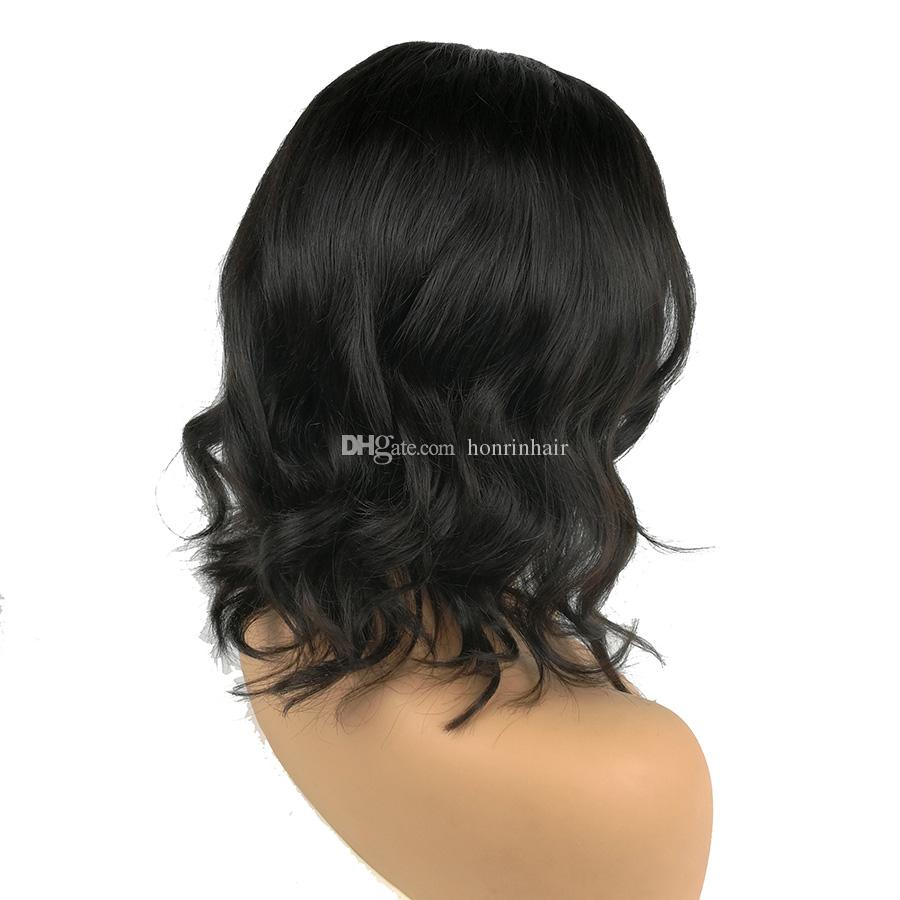 Full Lace Human Hair Wig Wavy Short Wave Natural Wave Pre-plucked Hairline Brazilian Virgin Hair 150% Density Lace Front Wig With Baby Hair