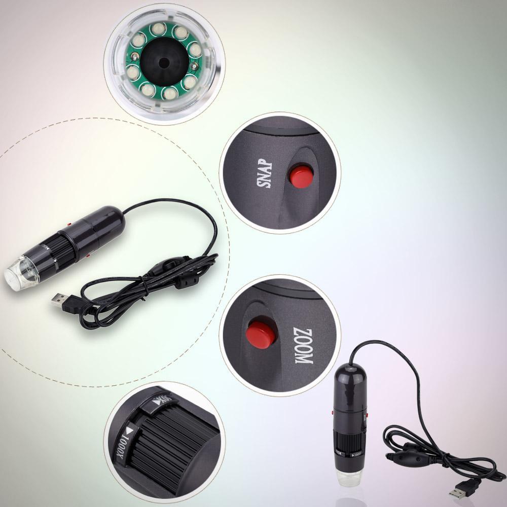 Freeshiping 50-1000X 8LED USB Dijital Mikroskop Mini Zoom Ayarlanabilir Standı ile Endoskop Büyüteç Gerçek 1.3MP Yüksek Çözünürlüklü Video kamera