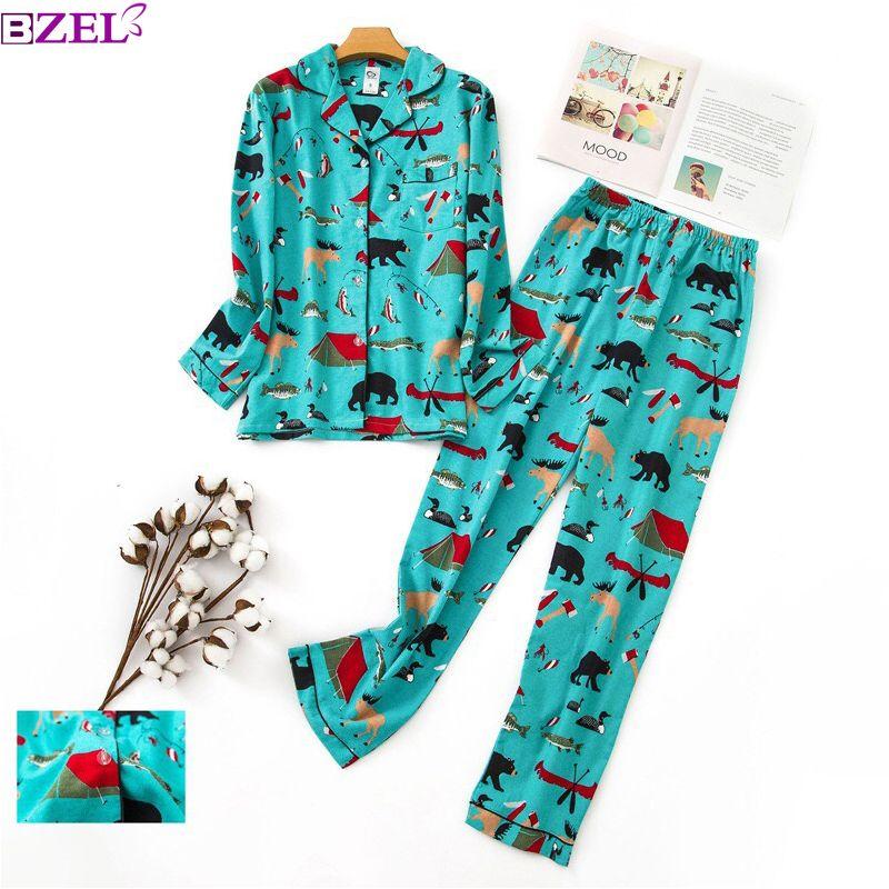 b38eb982e15e 2019 Plus Size Cute Cartoon Women Pajama Sets 100% Brushed Cotton ...