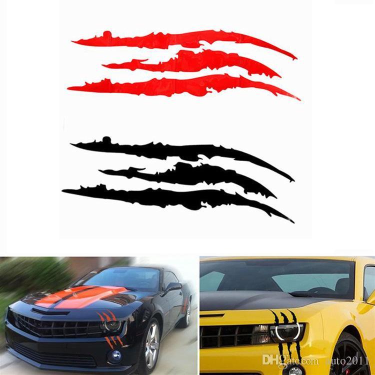 2019 40cm 12cm Funny Car Sticker Reflective Monster Scratch Stripe