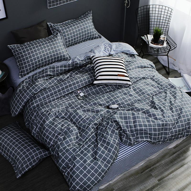 brand new a9292 f86e9 Tessile per la casa AB set biancheria da letto geometrica grigia housse de  couekid biancheria da letto lenzuola blu lenzuola copripiumino