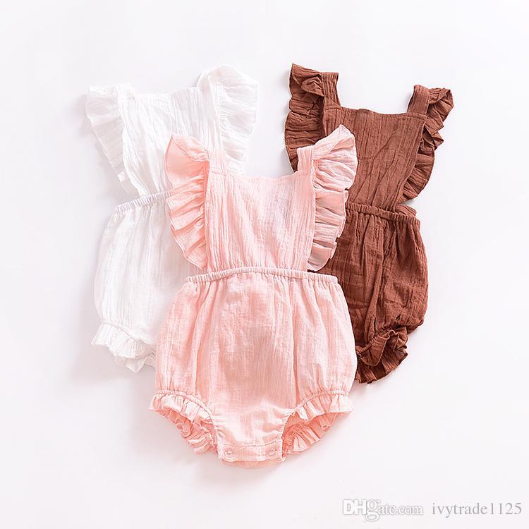 Ins Nuevo Infante mameluco bebé niño escalada mameluco 100% algodón espalda ahueca hacia fuera volantes mameluco niña niños mamelucos de verano 0-2T Bebé Ropa para niños
