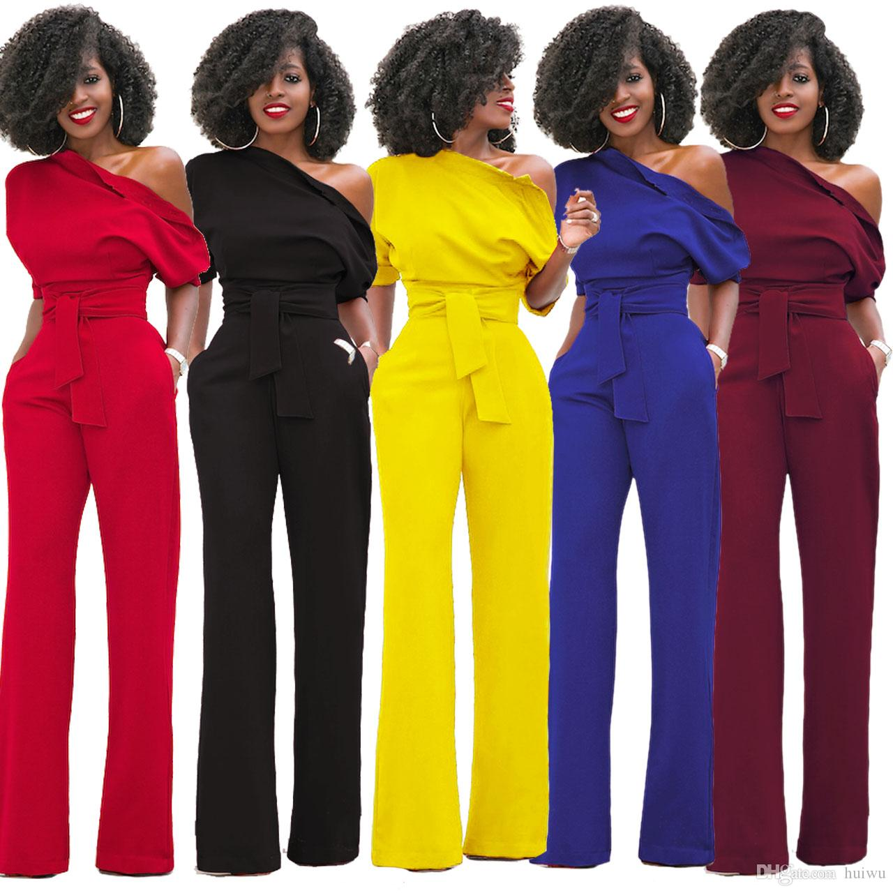 f24041fc21bc 2019 Women S Jumpsuit Sexy Summer Overalls Half Sleeve Off Should Solid Rompers  Jumpsuits Bodycon Elegant Bodysuit Wide Legging Pants From Huiwu