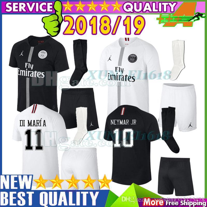 size 40 4de55 9d536 KIDS 2018 MBAPPE 7# Soccer Jersey 18/19 PSG Child Black-White CAVANI DI  MARIA 2019 PSG survetement maillot de foot Uniform Football Shirt