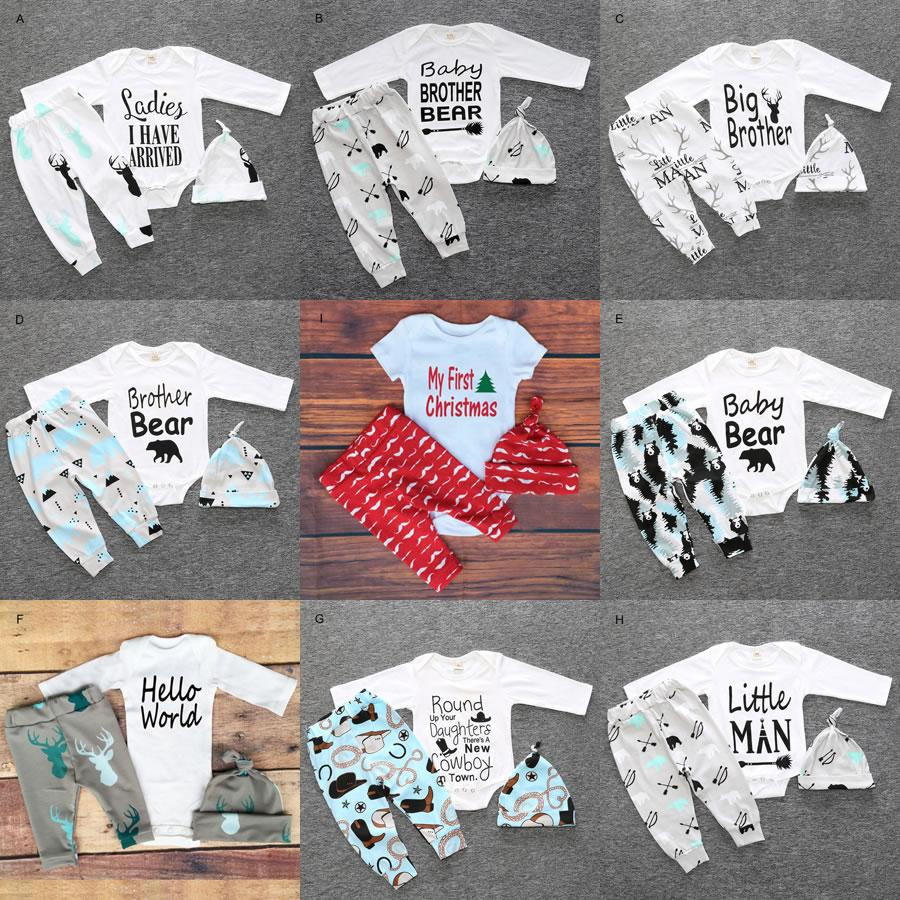 Christmas My First Birthday Outfits For Baby Boy Girl Set Clothing New Born Long Sleeve Deer Bodysuit Pant Hat 3pc Suit Costume