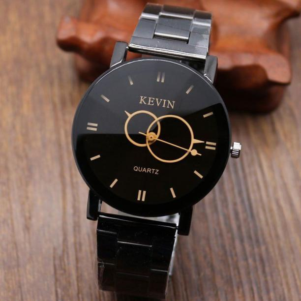 2018 Fashion Brand Kevin Watch For Man Women Design Black Stainless Steel Band Round Dial Quartz Wrist Watches Relogio Masculino