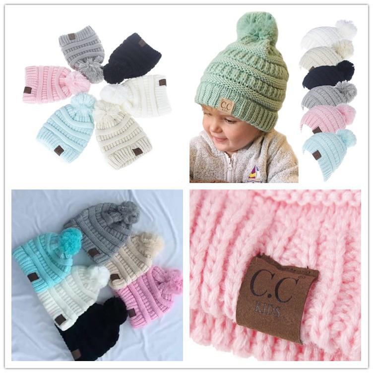 Großhandel Baby Mädchen Winter Cc Beanie Scherzt Baby Pom ...