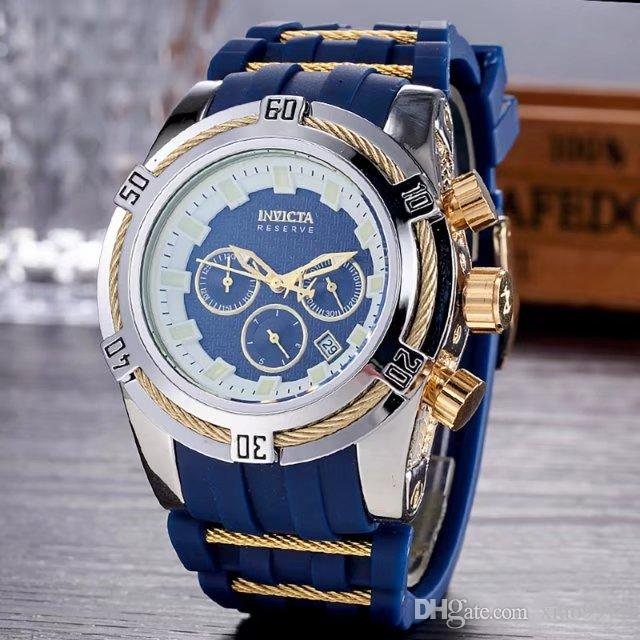 Invicta Best Halloween Men Birthday Gift Quality 52mm Big Dials Luxury Styles Mens Blue Color Watches Quartz Watch Material Silicone Straps Online With