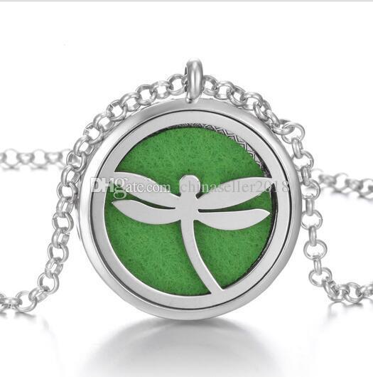 Yeşil Pedleri DIY Aromaterapi Locket Kolye Hayat Ağacı Esansiyel Yağlar Difüzör Madalyon Kolye Parfüm Kolye Kolye Ile 70 cm zincirler