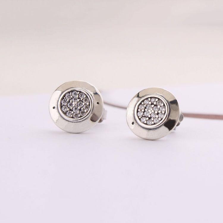 Autentica donna in argento sterling 925 con logo in argento con orecchini di cristallo donne compatibile con gioielli Pandora